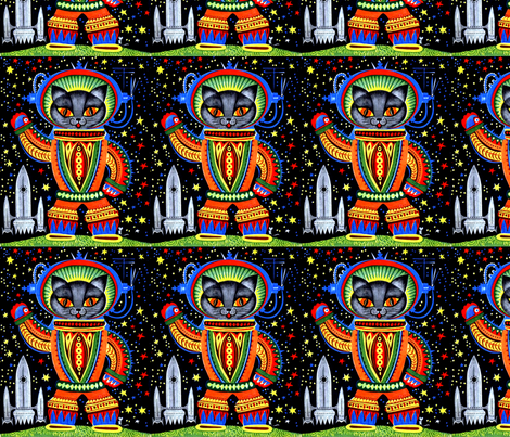 vintage retro kitsch astronauts science fiction futuristic spaceships rockets  space galaxy shuttle pilots earth pop art sci fi cats rainbow colorful fabric by raveneve on Spoonflower - custom fabric