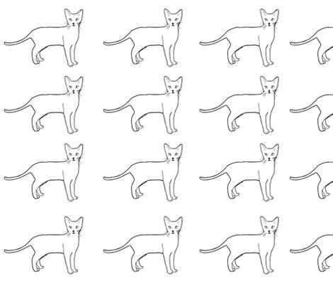 Black and White Cat  fabric by posemanikin on Spoonflower - custom fabric
