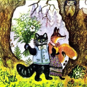 vintage retro kitsch forest trees woods pines cones coniferous owls flowers mushrooms black cats pussy fox bouquet couple folk stories folklore