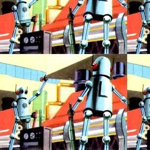 vintage retro kitsch robots pop art science fiction sci fi toys futuristic factory factories labs laboratory laboratories