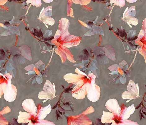 Butterflies and Hibiscus Flowers - warm coral & grey fabric by micklyn on Spoonflower - custom fabric