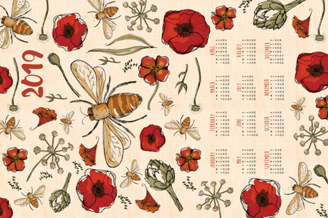 2019 Tea towel calendar - the art of bee keeping fabric by laurawrightstudio on Spoonflower - custom fabric