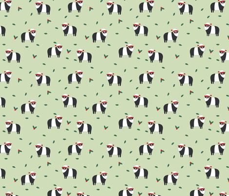 christmas pandas fabric by laurawrightstudio on Spoonflower - custom fabric