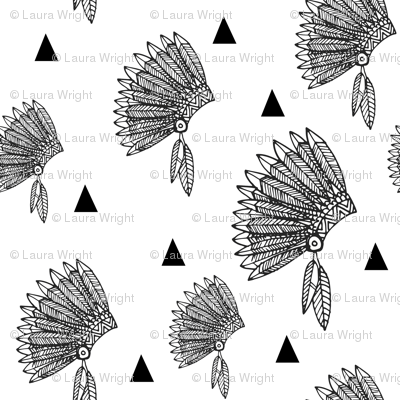 Native american headdress black and white