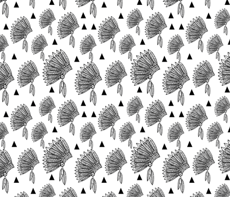 Native american headdress black and white fabric by laurawrightstudio on Spoonflower - custom fabric