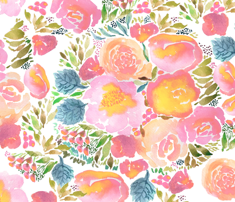 Watercolor Blush Pastel Pink Floral Bouquet fabric by laurawrightstudio on Spoonflower - custom fabric