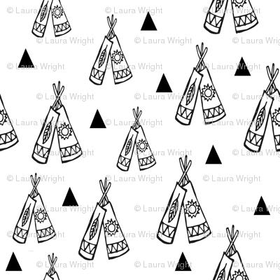 Native american tee pee black and white