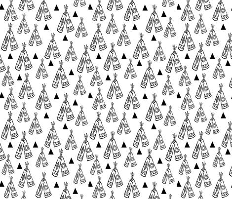 Native american tee pee black and white fabric by laurawrightstudio on Spoonflower - custom fabric