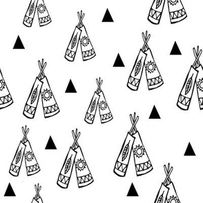 Native american tee pee black and white
