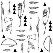 Native american indian tools black and white