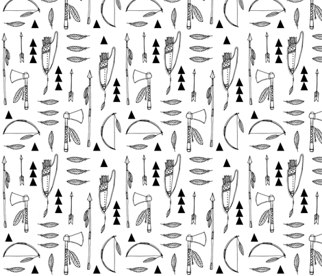 Native american indian tools black and white fabric by laurawrightstudio on Spoonflower - custom fabric