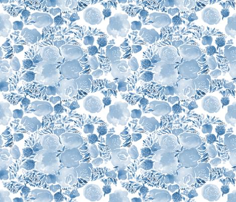 florals - blue fabric by laurawrightstudio on Spoonflower - custom fabric
