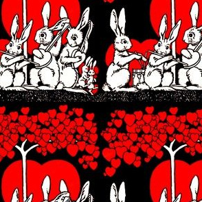 vintage retro kitsch hearts white rabbits bunny bunnies valentine trees grass musician band perform drums flute guitar whimsical