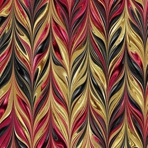 Metallic-RedGoldBlack-Feather