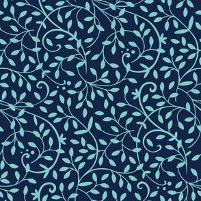 Curly Vine Turquoise Indigo