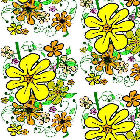 Sunshine Floral on White fabric by esheepdesigns on Spoonflower - custom fabric