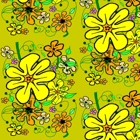 Sunshine Floral on Mustard fabric by esheepdesigns on Spoonflower - custom fabric