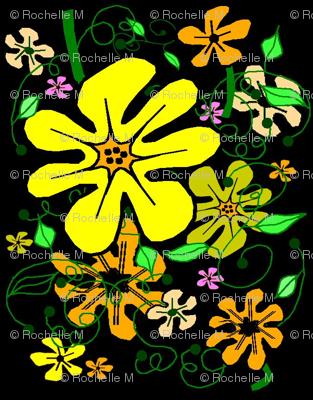 Sunshine Floral on Black