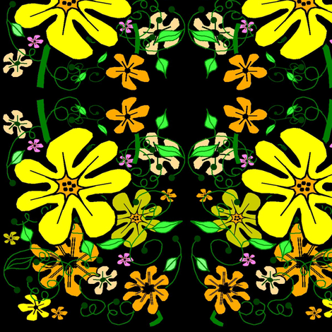 Sunshine Floral on Black fabric by esheepdesigns on Spoonflower - custom fabric