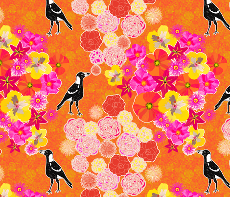 Toowoomba Magpies & Flowers fabric by rubydoor on Spoonflower - custom fabric
