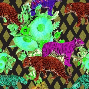 exotic cats of the wallpaper jungle, after dark