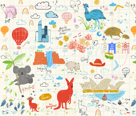 down under fabric by fable_design on Spoonflower - custom fabric