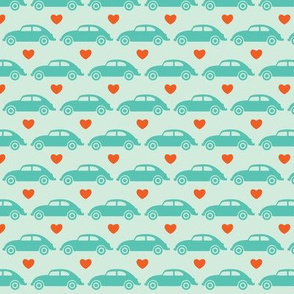 VW Beetle Love - Teal + Orange - Small