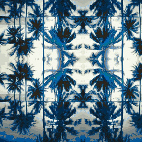 Hawaii Palm Trees navy blue