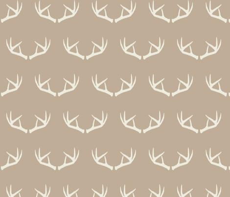 Antlers-Natural Beige & Cream fabric by bohemiangypsyjane on Spoonflower - custom fabric