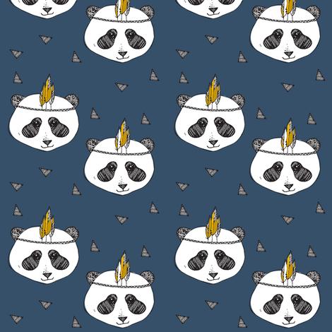 panda blue SMALL PRINT - elvelyckan fabric by elvelyckan on Spoonflower - custom fabric