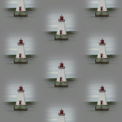 Lighthouse on Gray fabric by esheepdesigns on Spoonflower - custom fabric