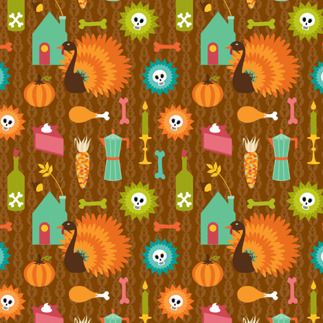 skelly thanksgiving fabric by skellychic on Spoonflower - custom fabric