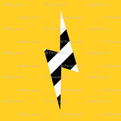 zebra lightning bolt on yellow