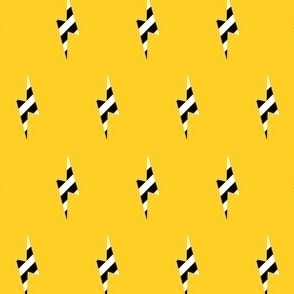 zebra lightning bolt on yellow
