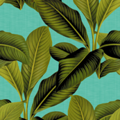 Palm In Palm ~ Tropical Blue Linen
