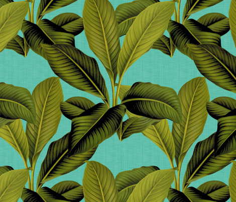 Palm In Palm ~ Tropical Blue Linen fabric by peacoquettedesigns on Spoonflower - custom fabric