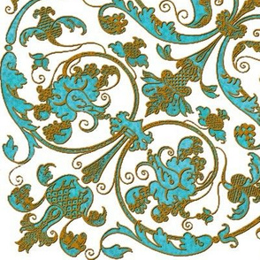 Renaissance Embroidery ~ Turquoise with Gilt Thread
