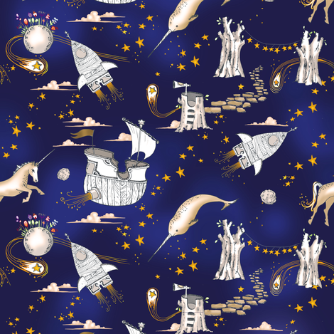Enchanted universe (MICRO) in ink fabric by nouveau_bohemian on Spoonflower - custom fabric