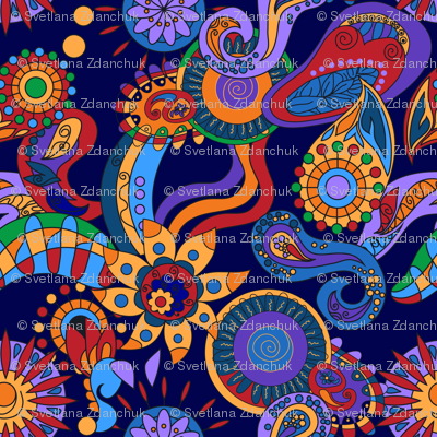 Ornamental abstract floral hippy elements