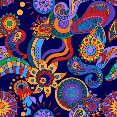 Ornamental abstract floral hippy elements fabric by flamewave on Spoonflower - custom fabric