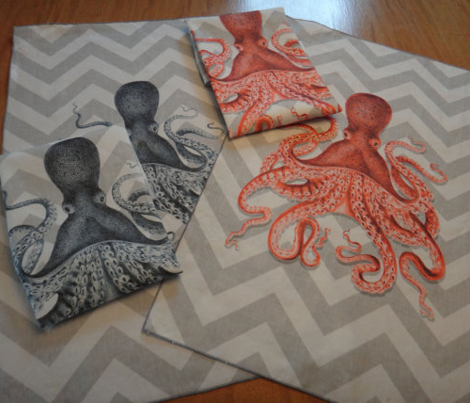 Coral Octopus Chevron for Tea Towels