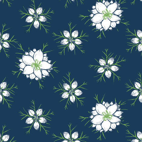 Love in the Mist - Blue fabric by crumpetsandcrabsticks on Spoonflower - custom fabric