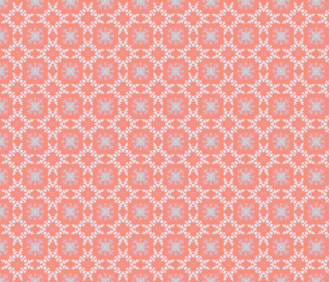 Snowflakes Rosy Background for Penguins fabric by lauriekentdesigns on Spoonflower - custom fabric