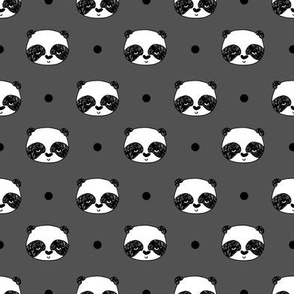 pandas // charcoal grey panda fabric kawaii panda head cute scandi panda fabric illustration