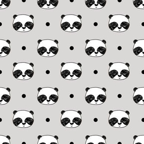 panda // light grey scandi kawaii illustrated nursery scandi fabric cute pandas design andrea lauren fabric