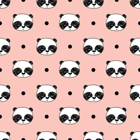 Panda Pink Baby Nursery Panda Fabric Cute Illustration