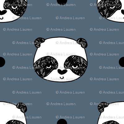 panda // blue  grey panda head best illustration scandi kids nursery baby fabric