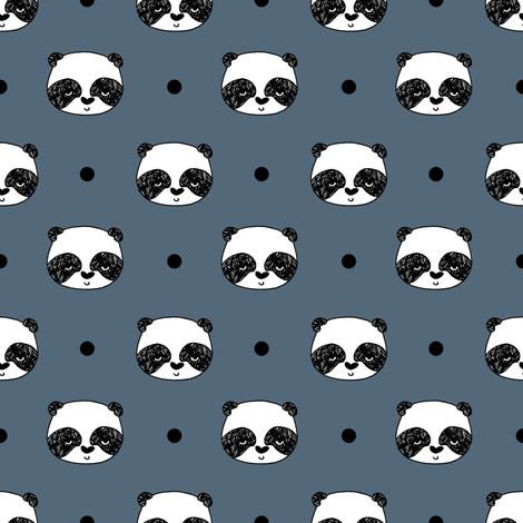 panda // blue  grey panda head best illustration scandi kids nursery baby fabric fabric by andrea_lauren on Spoonflower - custom fabric