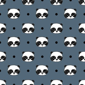 panda // blue  grey panda head best illustration scandi kids nursery baby fabric