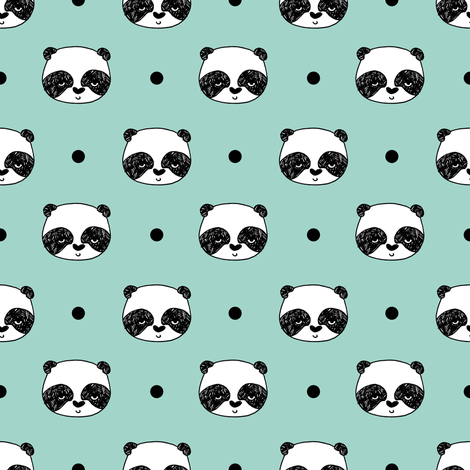 panda // mint panda head cute pandas fabric best kawaii illustrated nursery fabric cutes panda fabric fabric by andrea_lauren on Spoonflower - custom fabric
